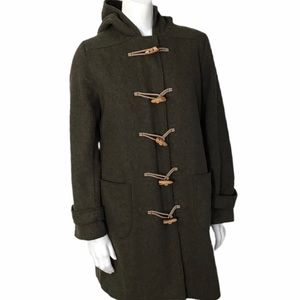 J.Crew Hooded Toggle Peacoat 61903 80% Wool Small
